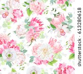 spring mixed bouquets of pink... | Shutterstock .eps vector #613280618