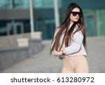 close up portrait of beautiful... | Shutterstock . vector #613280972