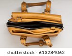 brown leather woman bag top... | Shutterstock . vector #613284062