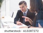 couple business people talking... | Shutterstock . vector #613287272
