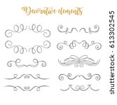 hand drawn vector flourishes.... | Shutterstock .eps vector #613302545