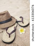 Flip Flops With Hat On Beach