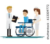medical staff with patients.... | Shutterstock .eps vector #613309772