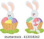 easter bunny rabbit holds... | Shutterstock .eps vector #613318262