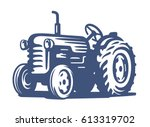 vector blue tractor icon on... | Shutterstock .eps vector #613319702