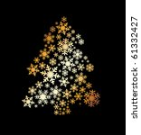 gold fur tree from snowflakes ... | Shutterstock .eps vector #61332427