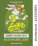 easter egg hunt party poster... | Shutterstock .eps vector #613324892