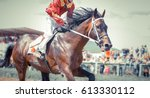 Stock photo racing horse portrait in action 613330112