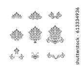 set of floral elements with... | Shutterstock .eps vector #613334936