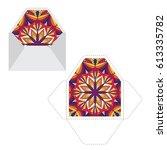 mandala pattern sleeve cutting... | Shutterstock .eps vector #613335782