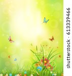 summer background with meadow... | Shutterstock .eps vector #613339466