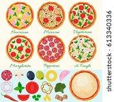 pizza set vector illustration.... | Shutterstock .eps vector #613340336