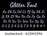 silver glitter font on black... | Shutterstock .eps vector #613341596