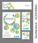 set of promotional flyers with... | Shutterstock .eps vector #613345862