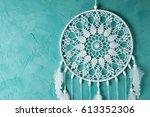 white dream catcher on... | Shutterstock . vector #613352306