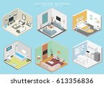 different interiors 3d isolated ... | Shutterstock .eps vector #613356836