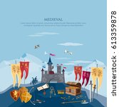 medieval castle. medieval...   Shutterstock .eps vector #613359878