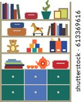 flat design of shelving with... | Shutterstock .eps vector #613369616