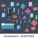 knitting accessories set with... | Shutterstock .eps vector #613379342