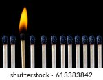 catching fire and burning... | Shutterstock . vector #613383842