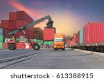 cargo ship loading containers... | Shutterstock . vector #613388915