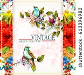 greeting vintage card with... | Shutterstock .eps vector #613396982