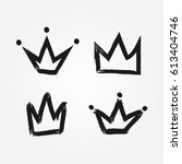 set of silhouettes of crowns.... | Shutterstock .eps vector #613404746