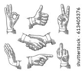 male hand sign. like  handshake ... | Shutterstock .eps vector #613405376