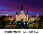 st. louis cathedral at night ... | Shutterstock . vector #613405562