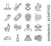 mexican line icon set. included ... | Shutterstock .eps vector #613407422