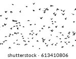 flock of birds silhouette.... | Shutterstock .eps vector #613410806