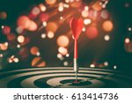 target hit in the center by... | Shutterstock . vector #613414736