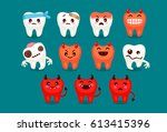 set of cute tooth emoji and... | Shutterstock .eps vector #613415396