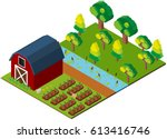 isometric farming scene on white | Shutterstock .eps vector #613416746