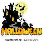 halloween house with sign 1  ... | Shutterstock .eps vector #61341904