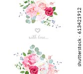 delicate wedding floral vector... | Shutterstock .eps vector #613421912
