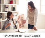 troubled teenage girl and her... | Shutterstock . vector #613422086