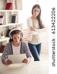 troubled teenage girl in... | Shutterstock . vector #613422206