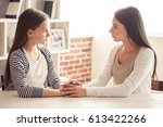 troubled teenage girl and her... | Shutterstock . vector #613422266