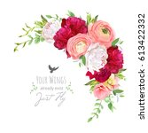 blooming bouquet floral vector... | Shutterstock .eps vector #613422332