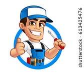 electrician  he has a... | Shutterstock .eps vector #613425476
