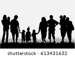 family silhouettes in nature. | Shutterstock .eps vector #613431632