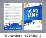 vector abstract flyer template. ... | Shutterstock .eps vector #613438142