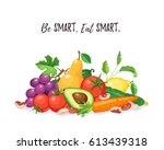 fresh fruits and vegetables... | Shutterstock .eps vector #613439318