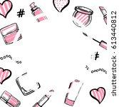 cosmetics frame. makeup...   Shutterstock .eps vector #613440812