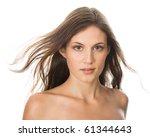 Black hair young woman portrait, Studio shot - stock photo