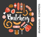 butchery product icon such as... | Shutterstock .eps vector #613449056