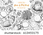 pub food frame vector... | Shutterstock .eps vector #613453175