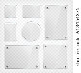 transparent glass plates set.... | Shutterstock .eps vector #613454375