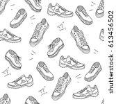 boots doodle pattern.... | Shutterstock . vector #613456502